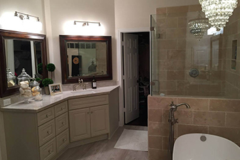 Bathroom Remodel By Colony Flooring & Design. Come visit our showroom in Stafford, Texas!